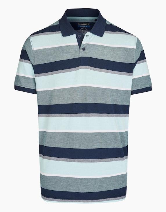 Bexleys man Gestreiftes Poloshirt in PIMA Cotton in Marine/Türkis/Weiß | ADLER Mode Onlineshop