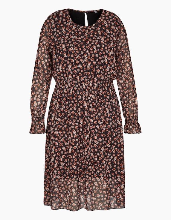 Made in Italy Chiffonkleid mit gesmokter Taille in Schwarz/Rostbraun/Ecru/Violett/Rosa   ADLER Mode Onlineshop