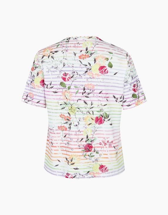 Thea Shirt mit Streifen und Blumendruck   ADLER Mode Onlineshop