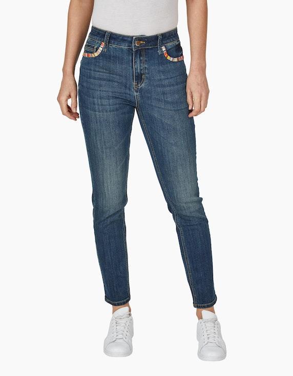 Bexleys woman Jeans mit buntem Besatz an den Taschen | ADLER Mode Onlineshop
