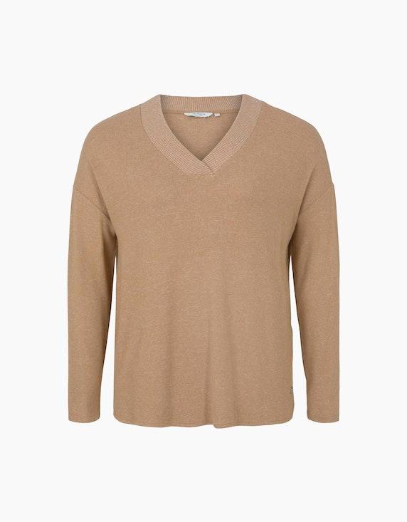 Tom Tailor Weiches Langarmshirt mit V-Ausschnitt   ADLER Mode Onlineshop