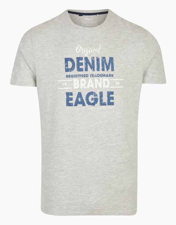 Eagle Denim T-Shirt mit Statement-Print in Hellgrau | ADLER Mode Onlineshop