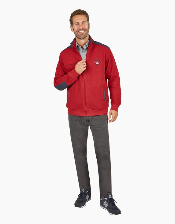 Bexleys man Sweatjacke mit Einstecktaschen in Rot | ADLER Mode Onlineshop