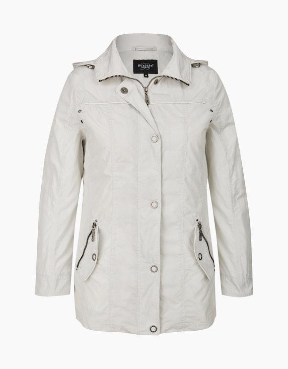 Bexleys woman Jacke mit Fineliner-Streifen und Kapuze in Silberweiß | ADLER Mode Onlineshop