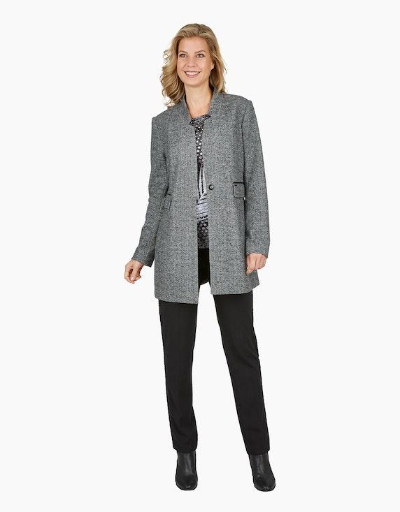 Bexleys woman Longblazer mit Fischgrät-Muster und Details in Lederoptik   ADLER Mode Onlineshop