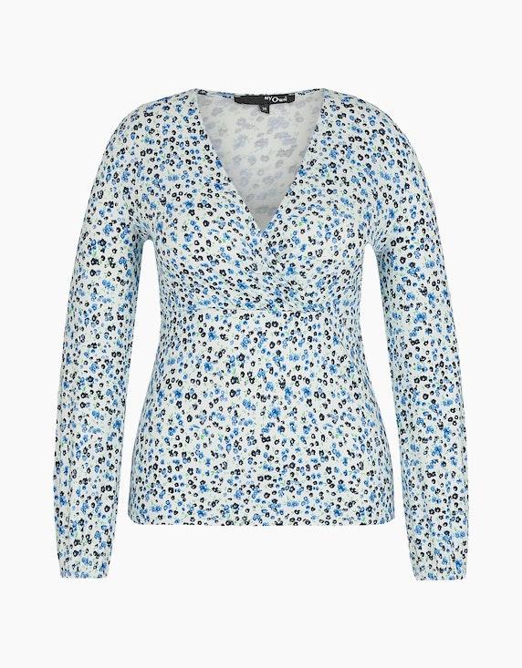 MY OWN Shirt mit Blumchendruck in Offwhite/Marine/Blau/Grün   ADLER Mode Onlineshop