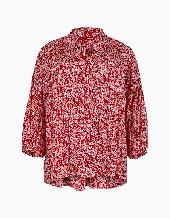 Thea Bluse mit Plissee und Puffärmeln in Rot/Weiß | ADLER Mode Onlineshop