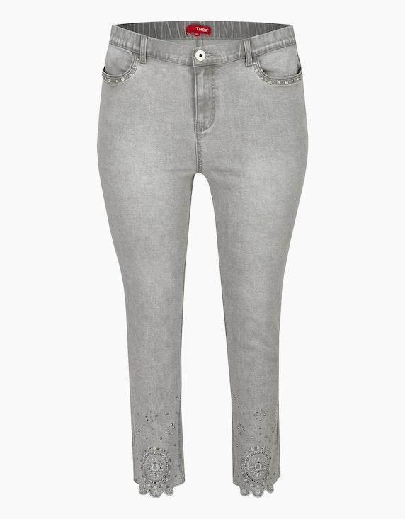 Thea Jeans mit Stickerei, Strass und Ziernieten in Silvergrey Denim   ADLER Mode Onlineshop