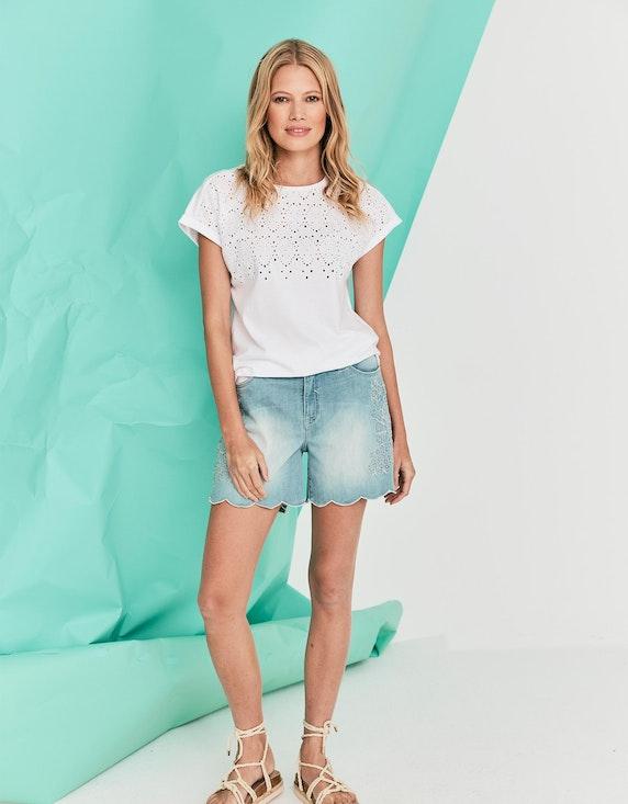MY OWN Shirt mit Lochstickerei aus reiner Baumwolle in Weiß   ADLER Mode Onlineshop