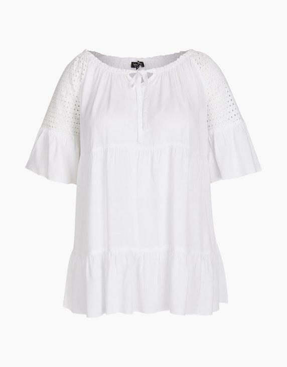 Viventy Carmen-Bluse mit Lochstickerei in Weiß | ADLER Mode Onlineshop