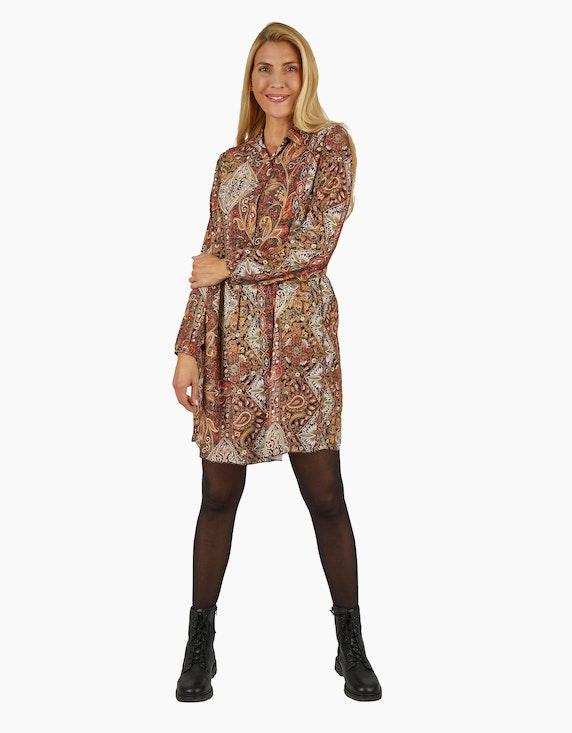 Made in Italy Viskose-Kleid mit Kragen und halblanger Knopfleiste   ADLER Mode Onlineshop