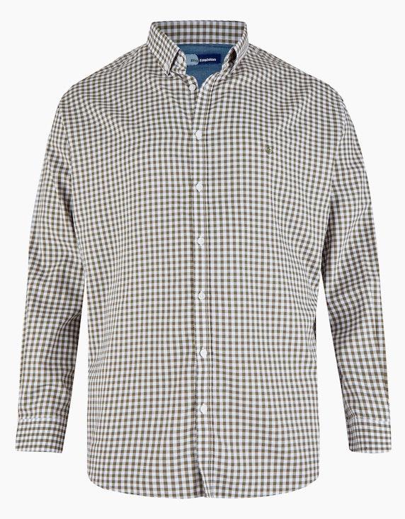 Big Fashion Hemd mit Vichy-Karo und Button-Down in Grün/Weiß   ADLER Mode Onlineshop