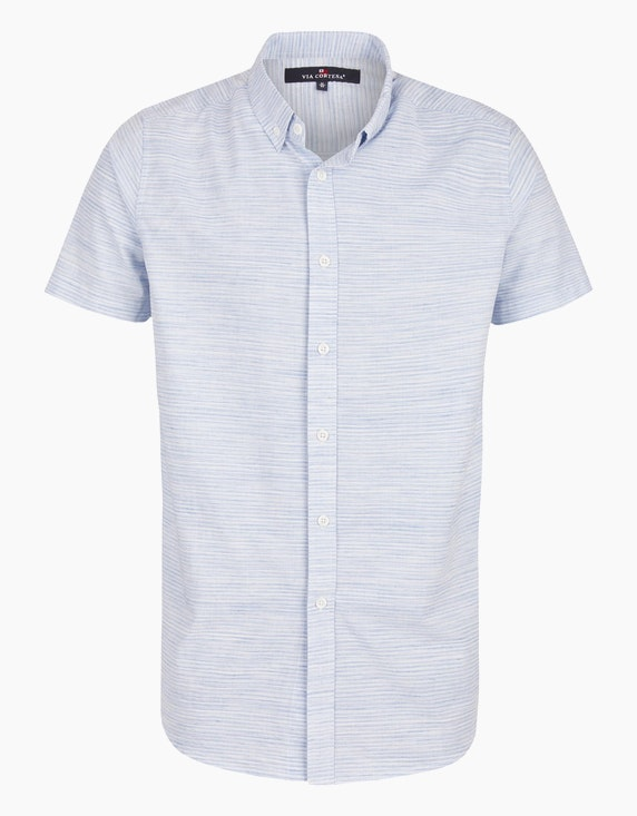 Via Cortesa Hemd mit Streifenmuster und Button Down-Kragen in Hellblau/Weiß | ADLER Mode Onlineshop