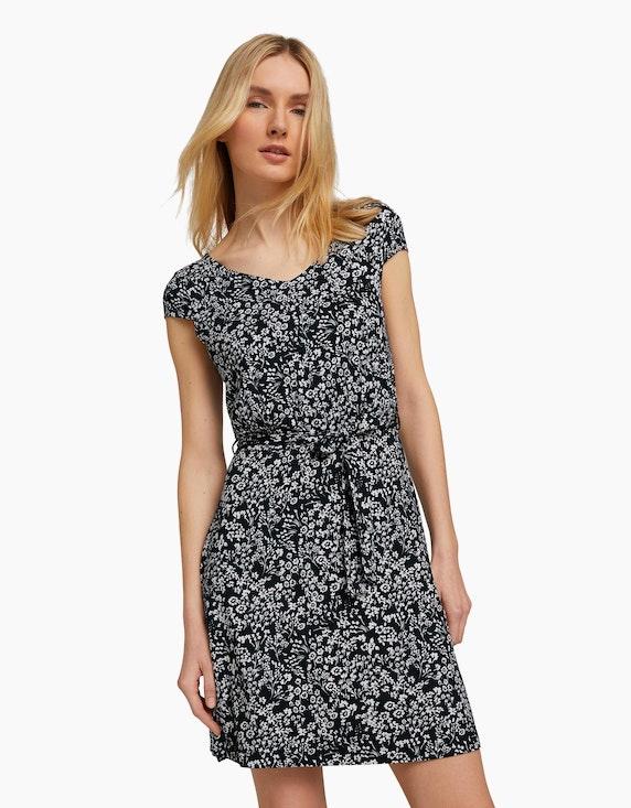 Tom Tailor Gemustertes Jerseykleid mit Bindegürtel   ADLER Mode Onlineshop