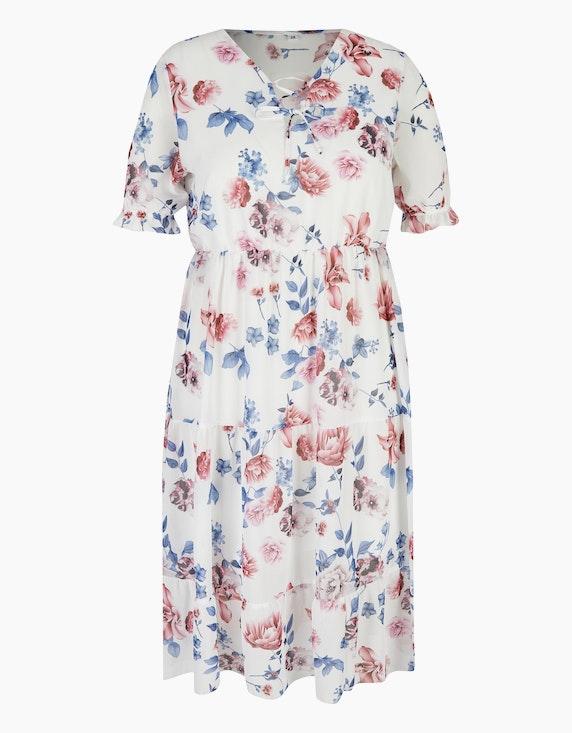Bexleys woman Chiffonkleid im Stufen-Look in Weiß/Altrosa/Blau   ADLER Mode Onlineshop