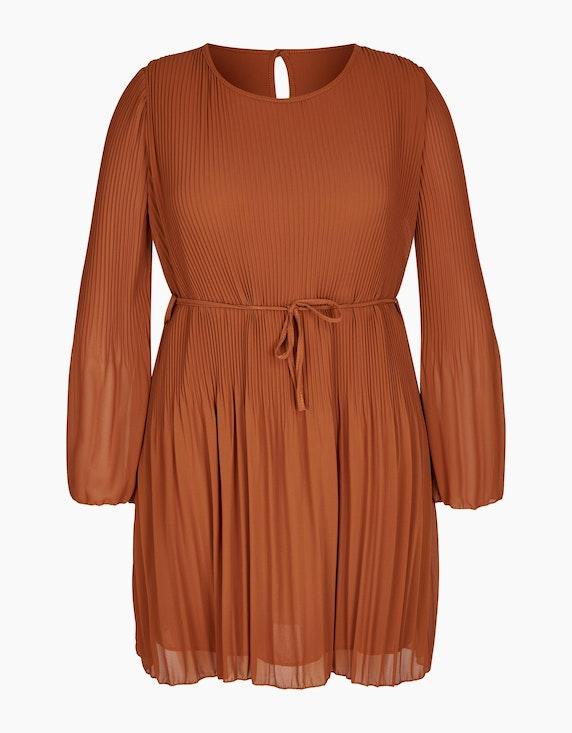 Made in Italy Plissee-Kleid mit Bindeband in Cognac   ADLER Mode Onlineshop