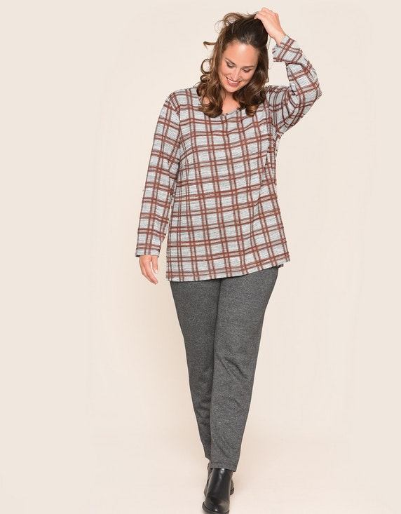 Thea Jacquard-Jerseyshirt mit Karomuster   ADLER Mode Onlineshop
