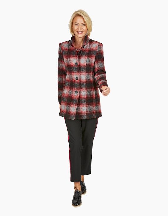 Steilmann Woman Wolljacke mit Karo-Muster in Rot/Schwarz/Weiß | ADLER Mode Onlineshop