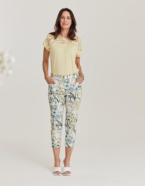 Steilmann Woman Bengalin-Hose mit floralem Druck in Gelb/Grün/Blau/Ecru | ADLER Mode Onlineshop