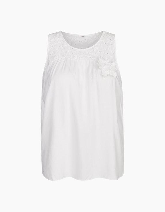 Bexleys woman Blusentop mit verspielter Lochstickerei in Weiß | ADLER Mode Onlineshop