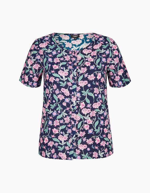 Bexleys woman Bluse mit floralem Druck in Marine/Rosa/Grün | ADLER Mode Onlineshop