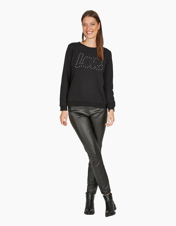 MY OWN Sweatshirt mit Letter-Stickerei und Deko-Perlen in Schwarz | ADLER Mode Onlineshop