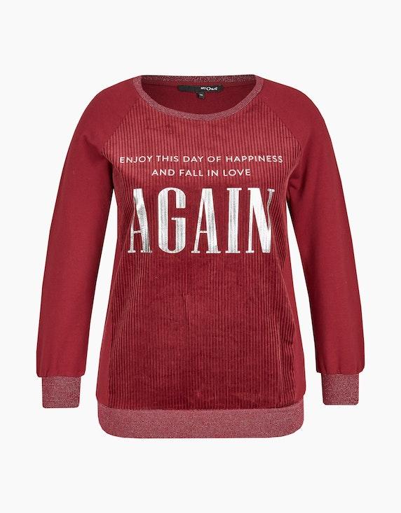 MY OWN Sweatshirt mit Cord und Letterprint in Bordeaux | ADLER Mode Onlineshop