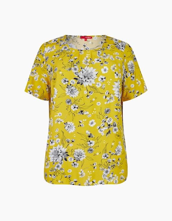 Thea Shirt mit Blumendruck in Gelb/Weiß | ADLER Mode Onlineshop
