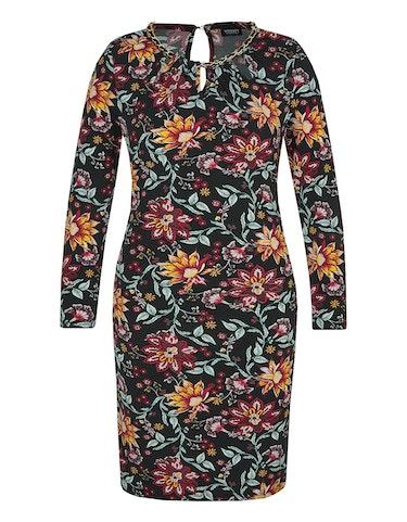 Produktbild zu Jersey-Kleid mit floralem Druck und Ketten-Detail von Viventy