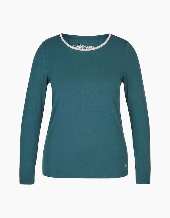 Steilmann Woman Shirt mit Rundhalsausschnitt und Kugelketten-Besatz in Dunkelgrün   ADLER Mode Onlineshop