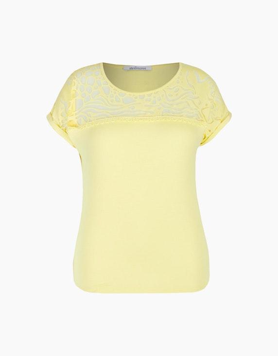 Steilmann Woman Shirt mit Häkelspitze und Ausbrenner-Effekt in Gelb | ADLER Mode Onlineshop