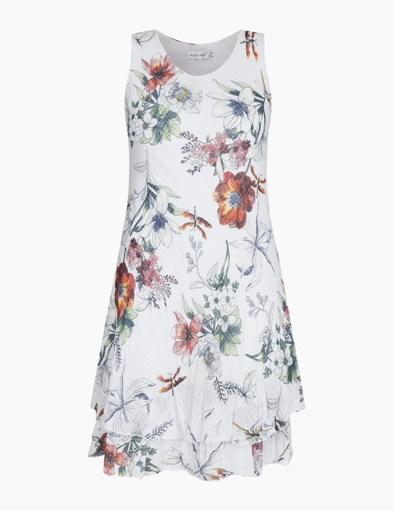 Made in Italy Sommerkleid mit floralem Druck in Weiß/Rot/Grün | ADLER Mode Onlineshop