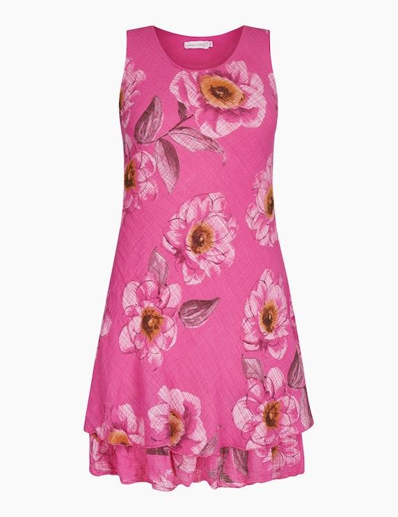 Made in Italy Sommerkleid mit floralem Druck in Pink/Weiß/Rost | ADLER Mode Onlineshop