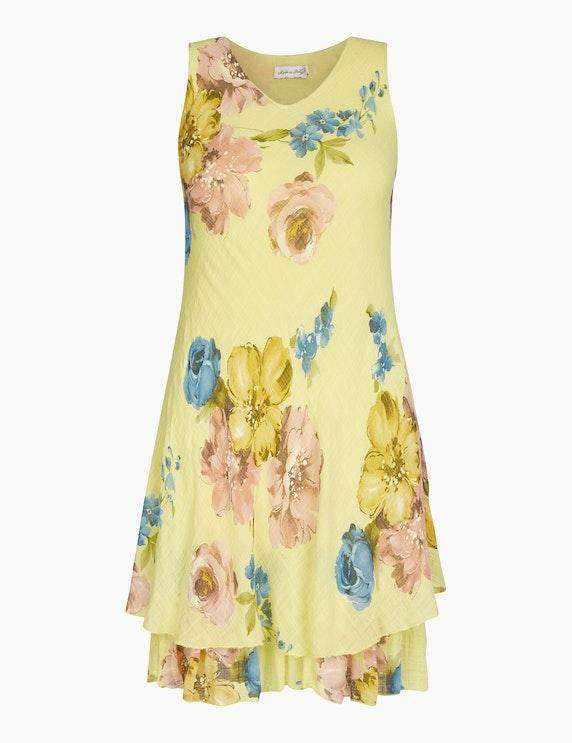 Made in Italy Sommerkleid mit floralem Druck in Gelb/Rosa/Blau | ADLER Mode Onlineshop