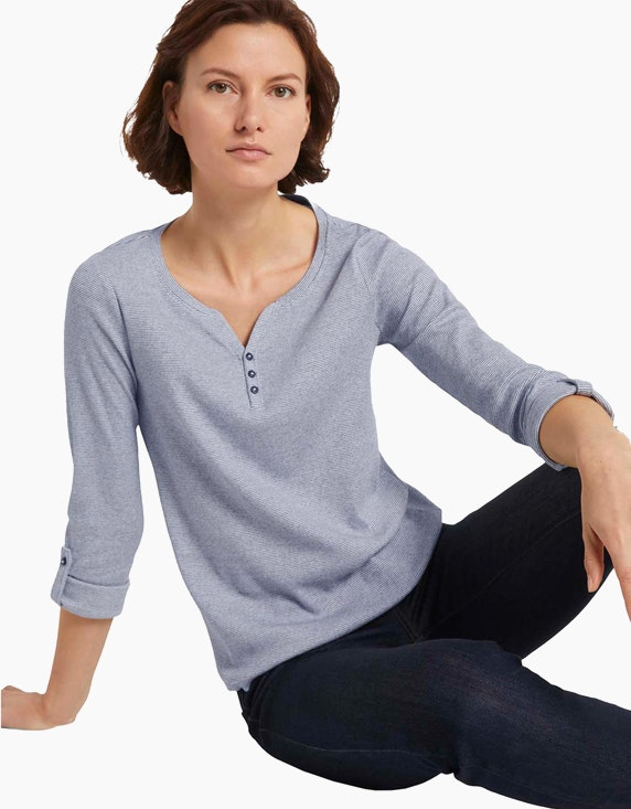 Tom Tailor Gestreiftes Henley-Shirt   ADLER Mode Onlineshop