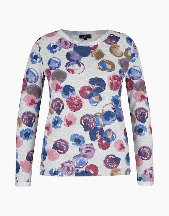 Via Cortesa Shirt mit Allover-Druck in Grau/Blau/Rot | ADLER Mode Onlineshop