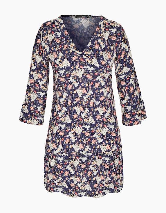 MY OWN Tunika-Kleid mit floralem Druck und Trompetenärmeln in Marinne/Rose/Weiß | ADLER Mode Onlineshop