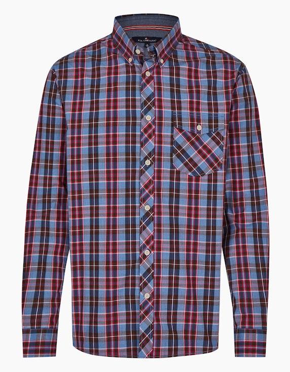 Via Cortesa Kariertes Freizeithemd mit Button Down Kragen in Blau/Rot | ADLER Mode Onlineshop