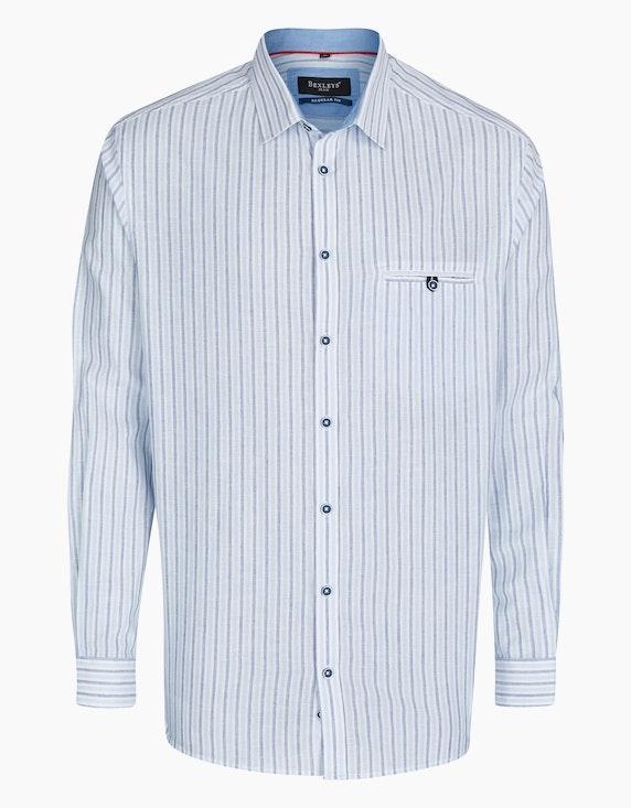 Bexleys man Gestreiftes Freizeithemd mit Leinenanteil, REGULAR FIT in Hellblau/Weiß   ADLER Mode Onlineshop