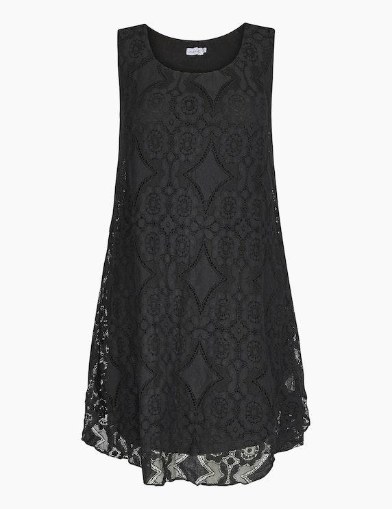 Made in Italy Kleid mit Häkelspitzendetails in Schwarz   ADLER Mode Onlineshop