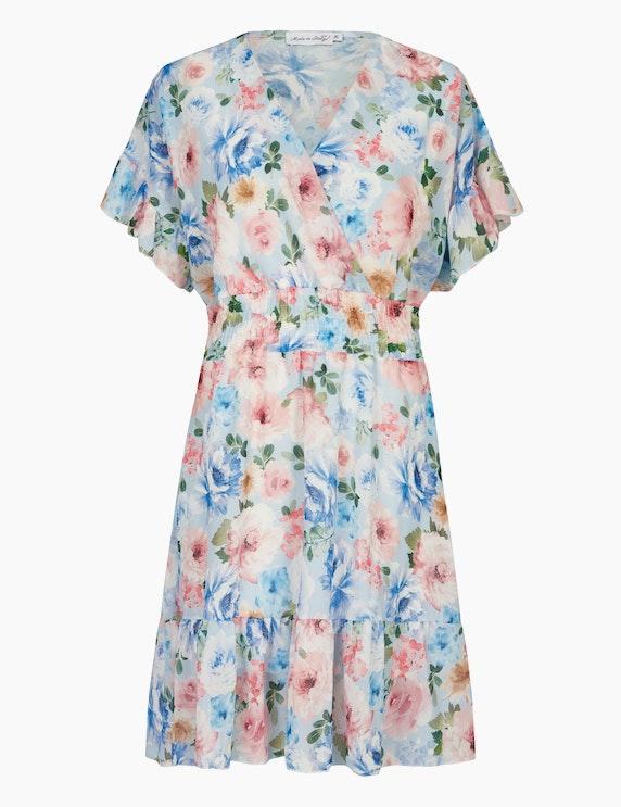Made in Italy Chiffonkleid mit gesmokter Taille in Hellblau/Blau/Rosa   ADLER Mode Onlineshop