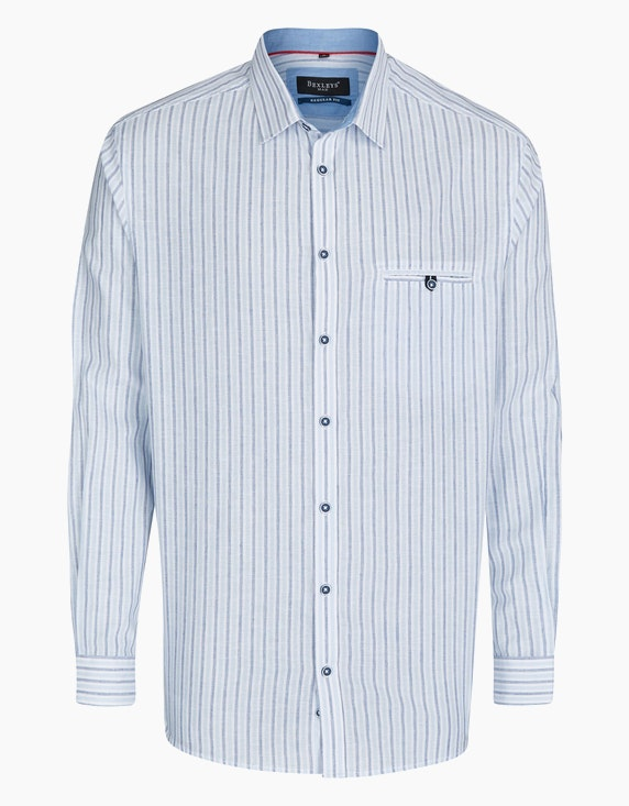Bexleys man Gestreiftes Freizeithemd mit Leinenanteil, REGULAR FIT in Hellblau/Weiß | ADLER Mode Onlineshop