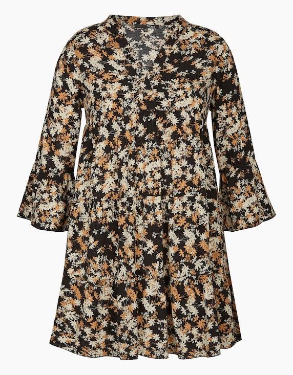 MY OWN Long-Bluse im Tunika-Style mit Blumenmuster in Schwarz/Beige | ADLER Mode Onlineshop