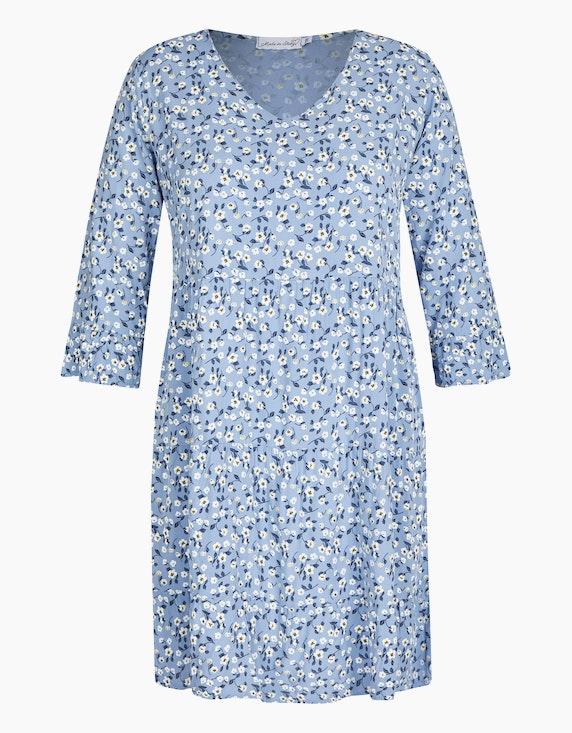 Made in Italy Stufenkleid mit floralem Druck in Hellblau | ADLER Mode Onlineshop
