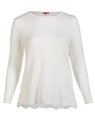 Produktbild zu Feinstrick-Pullover mit Spitzendetail von Thea