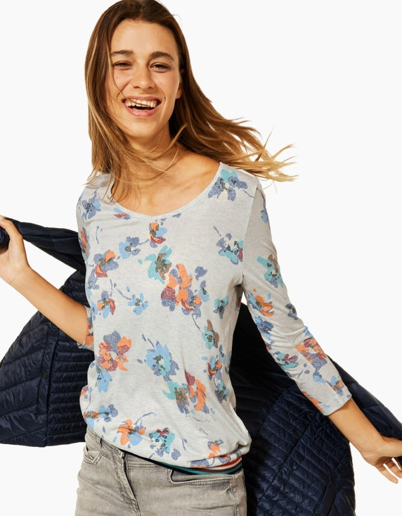 CECIL Shirt mit Blumenmuster in Melange-Optik   ADLER Mode Onlineshop