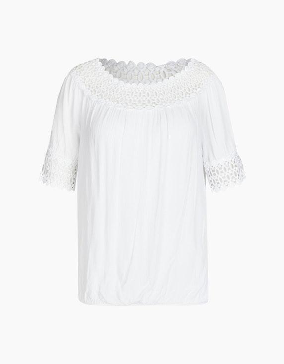 Made in Italy Bluse im Carmen-Stil in Weiß | ADLER Mode Onlineshop