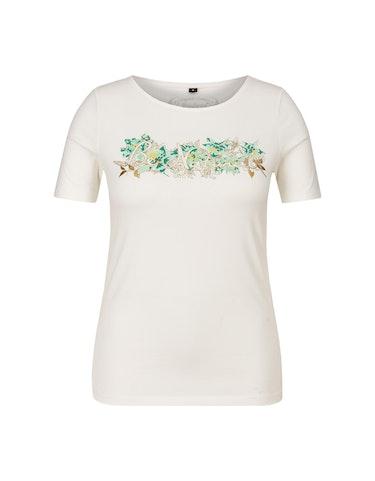 Produktbild zu T-Shirt mit Brustdruck mit metallic Details von Bexleys woman