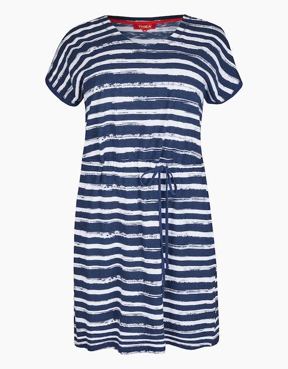 Thea Jerseykleid mit Tunnelzug in der Taille in Blau/Weiß   ADLER Mode Onlineshop