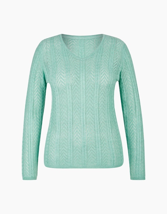 MY OWN Ajour-Pullover aus recyceltem Polyester in Mint | ADLER Mode Onlineshop